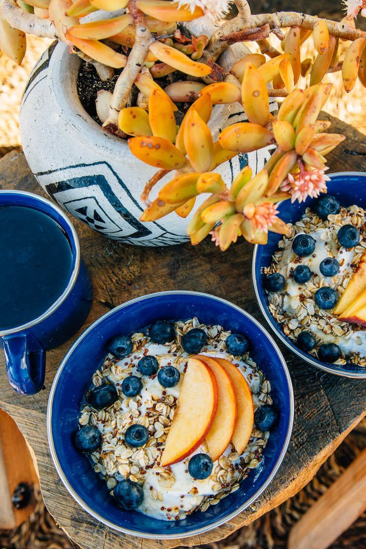 A Simple Fresh Camping Breakfast Idea Yogurt Bowl With Toasted Oats Peaches