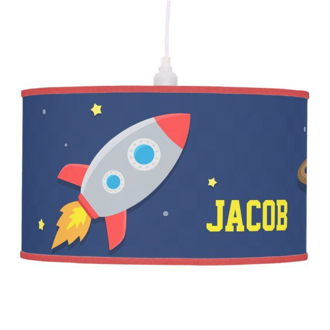 Colourful Rocket Ship Outer Space Kids Room Lamp Affiliate