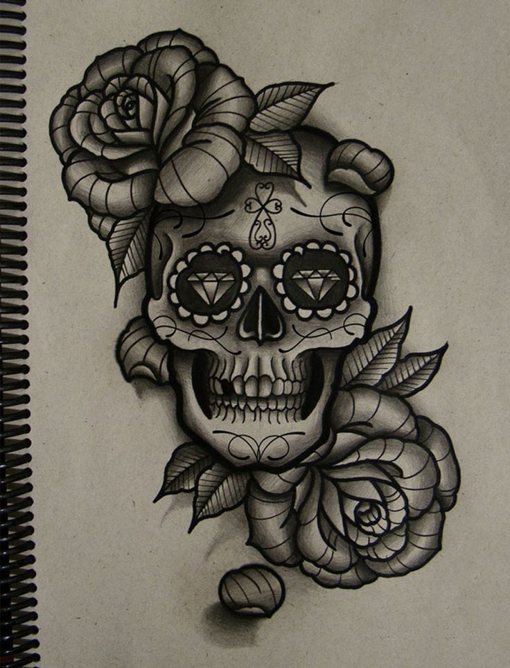 Roses And Sugar Skull Tattoo Designs Photo 4 Ink Pinterest
