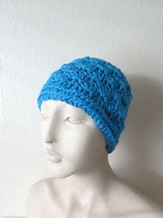 Messy Bun Hat Crochet Bun Hat Blue Shell Bun by TissysTreasures