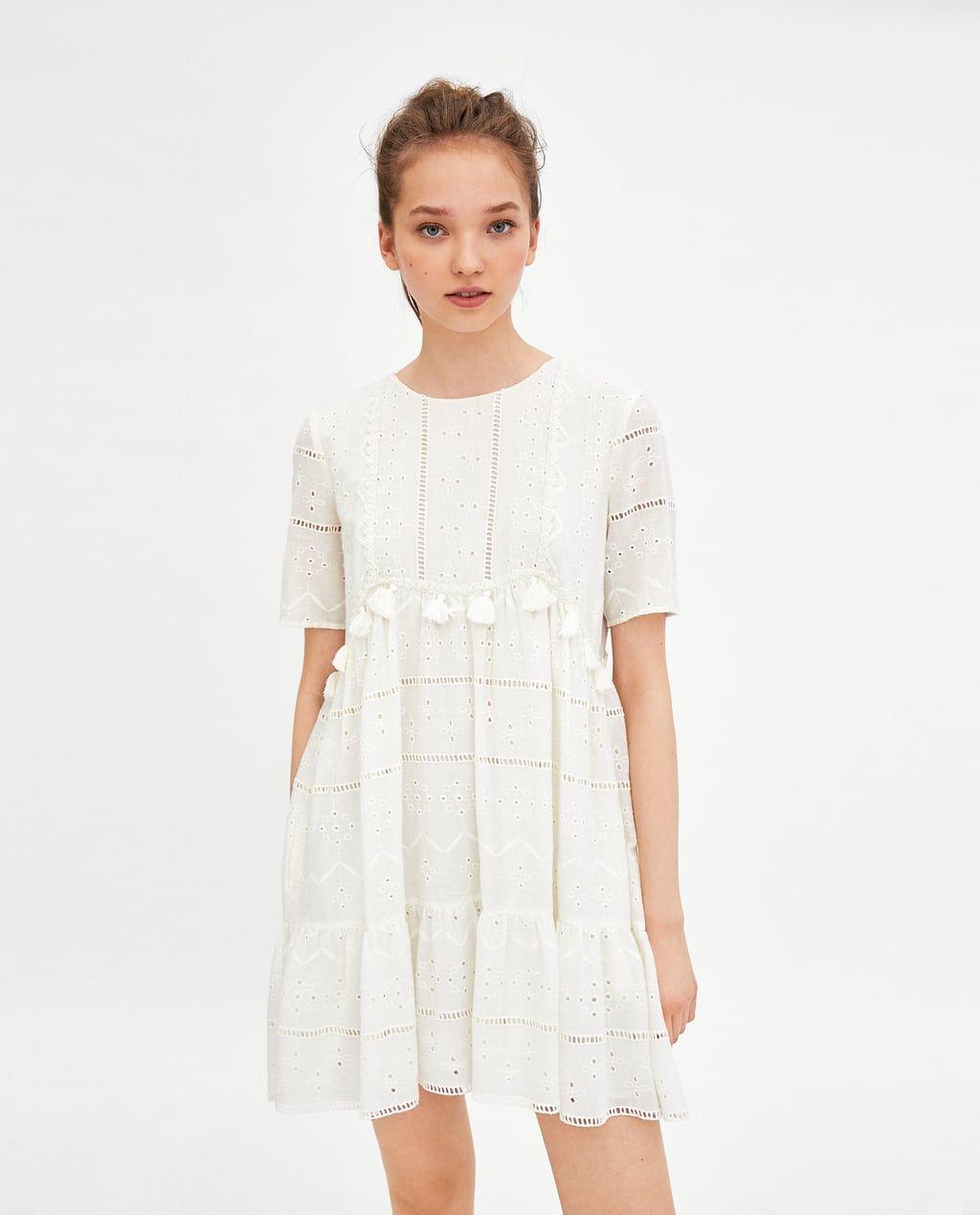 vestido bordado y pompones   bestickte kleider, legere