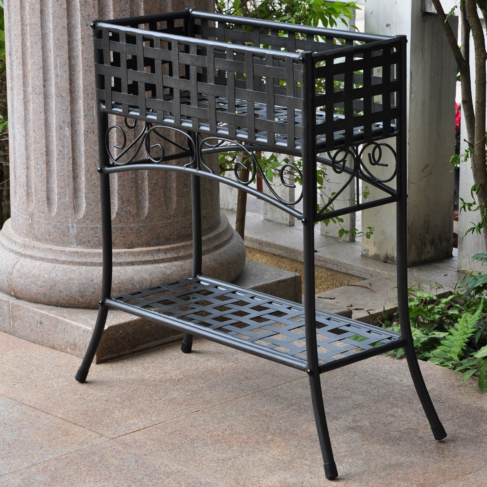 International Caravan Rectangular Iron Plant Stand  Front Porch Under Window