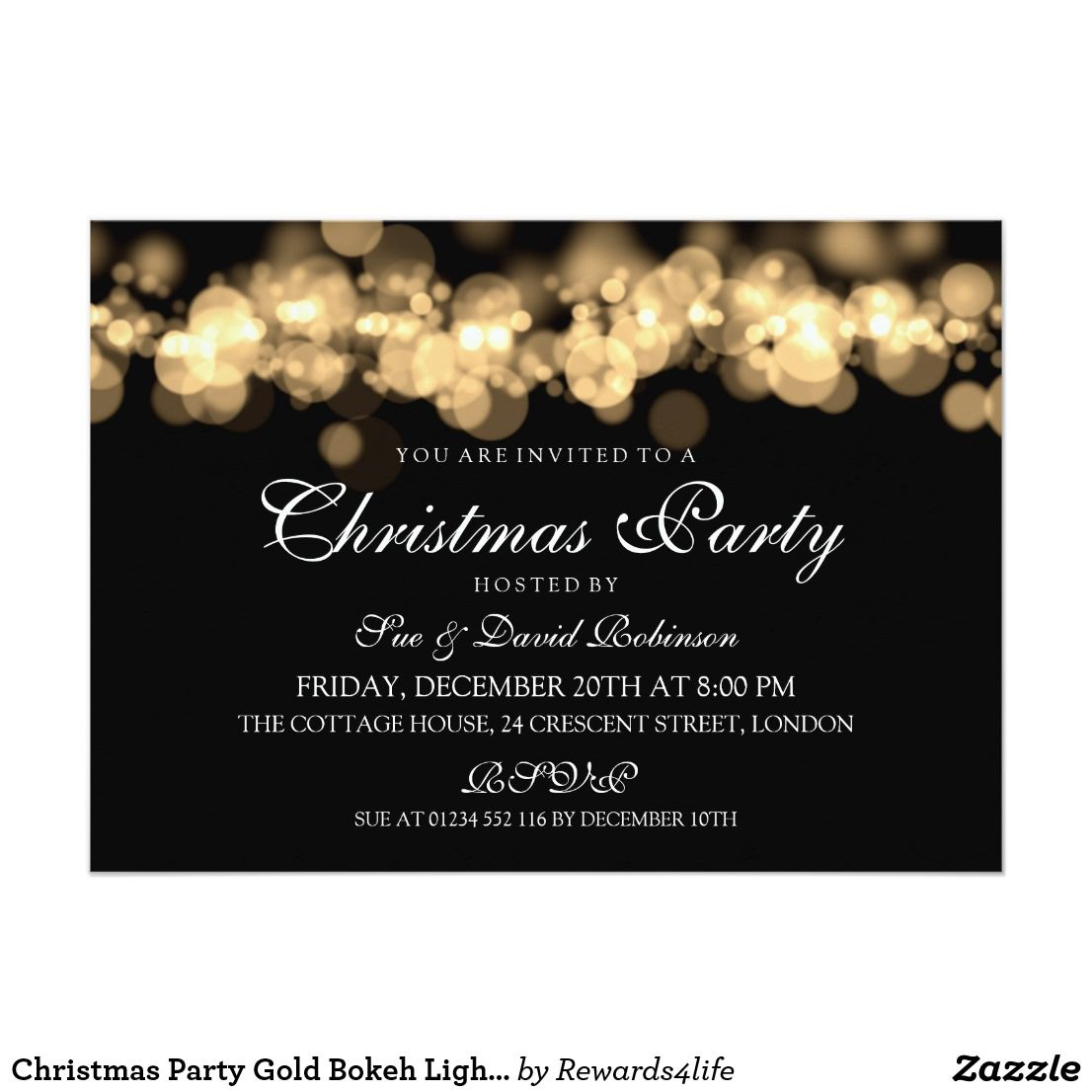 Christmas Party Gold Bokeh Lights Card Party Invitation Templates - Party invitation template: elegant christmas party invitation template