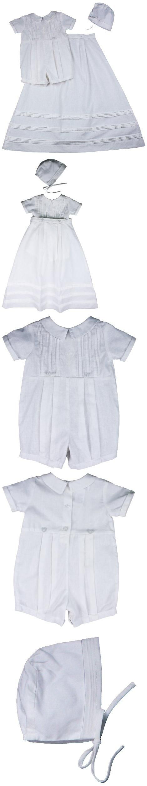 Connies Kids Boys White Embroidered Cross Romper with Hat