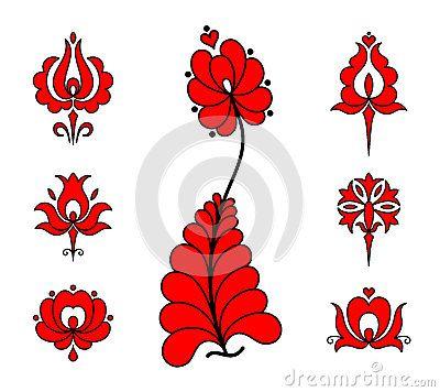 Tradičný maďarský výšivky kvetinové prvky