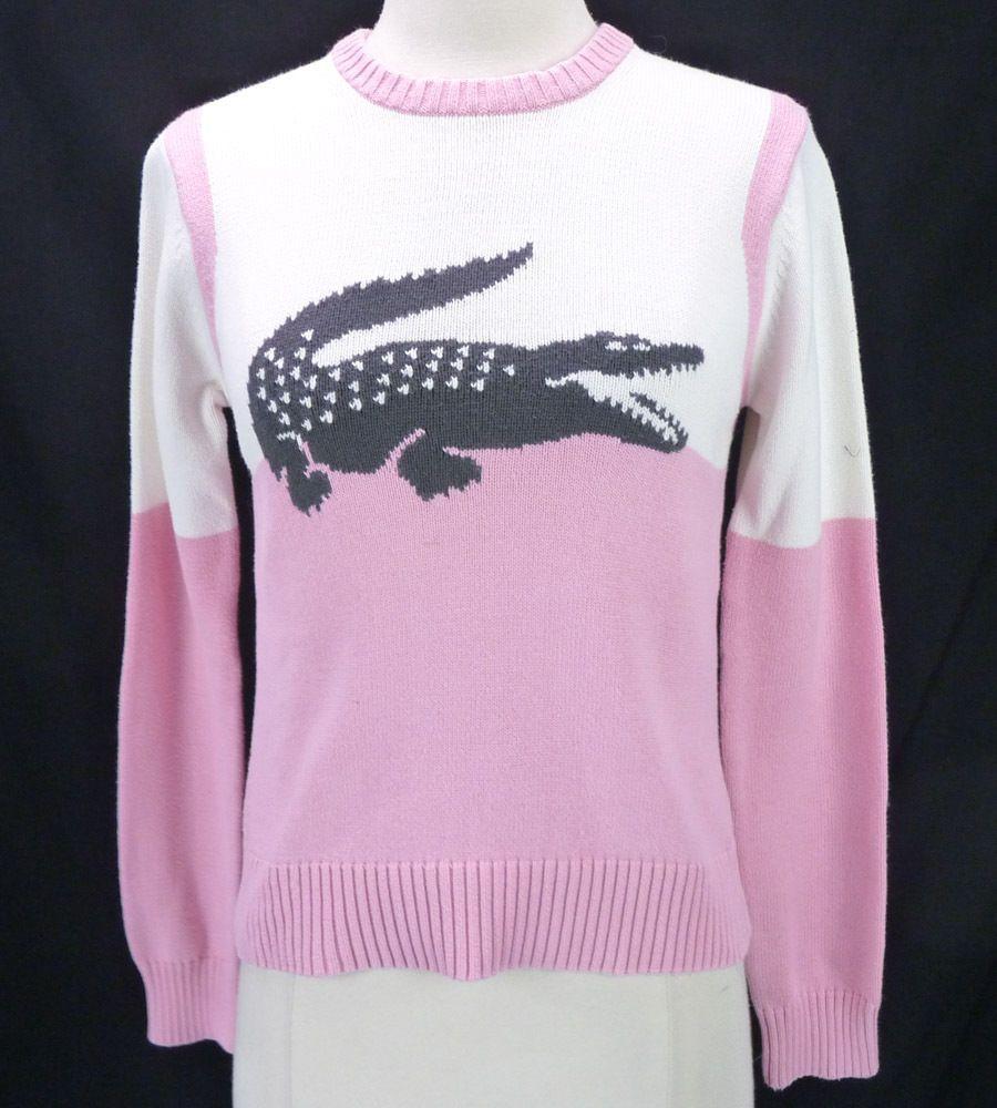 LACOSTE Pink/White Knit Crew Sweater Jumper Big Alligator Logo ...