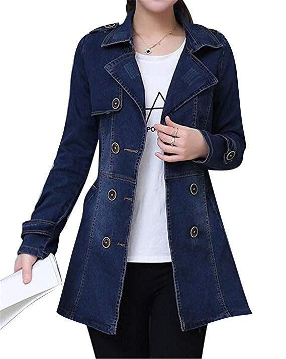 44c15fcaf MMCP Women's Slim Casual Plus Size Double Breasted Denim Jacket Jean ...