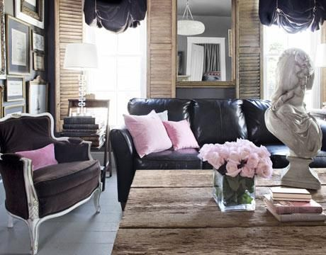Gray U0026 Pink Eclectic Living Room Design With Black Leather Sofa, Brown  Velvet Bergere Chair Part 7