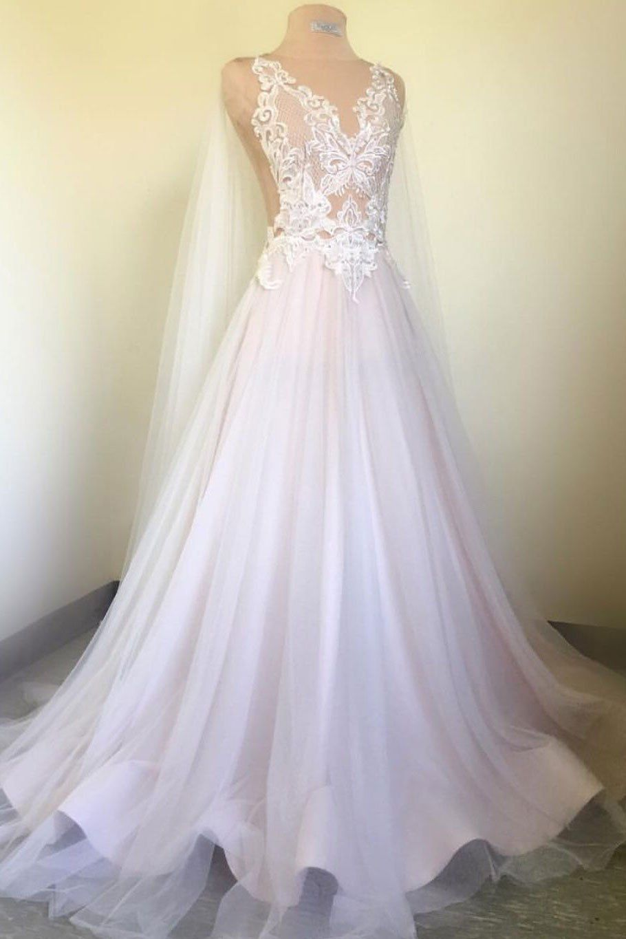 White tulle long train v neck lace senior prom dress white wedding