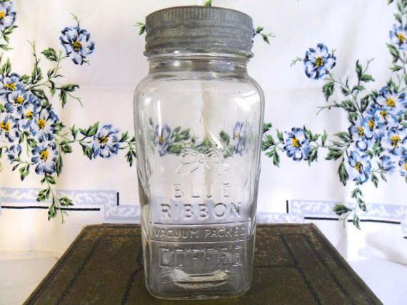 Vintage Coffee Jar Glass Zinc Lid Kitchen Canister Storage Blue Ribbon Vaccuum Packed Vintage Coffee Coffee Jars Jar