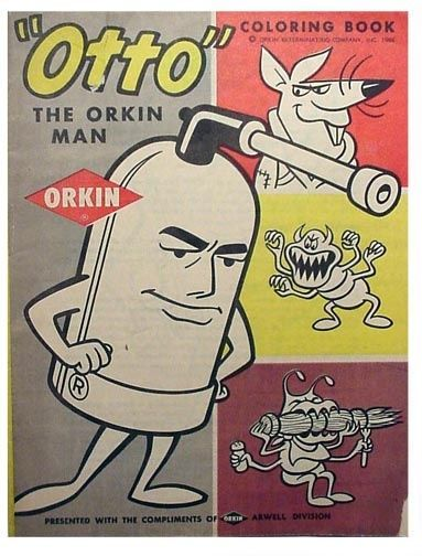 Otto The Orkin Man Exterminator Pest Control Coloring Book Coloring Books Orkin Vintage Advertisements