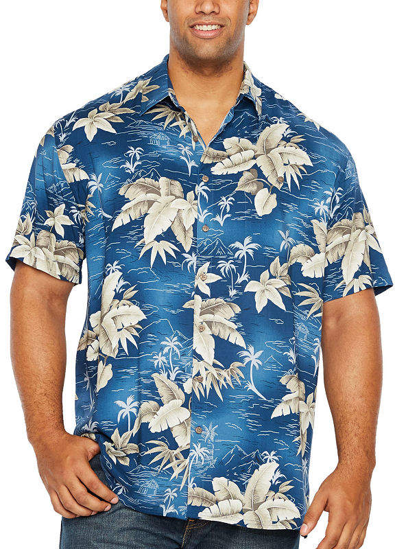 3e593fb62a2a Co THE FOUNDRY SUPPLY The Foundry Big & Tall Supply Foundry Tropicals Mens  Short Sleeve Button-Front Shirt Big and Tall