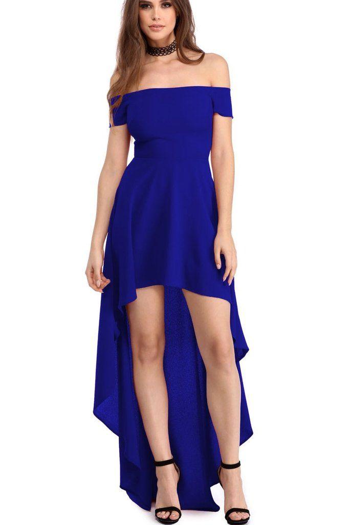 Robes de Soiree Courte Devant Longue Derriere Bleu Epaules Denudees MB61437-5 - Modebuy.com ...