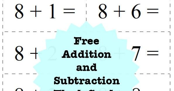picture about Printable Addition Flashcards called A fixed of cost-free printable addition and subtraction flash playing cards