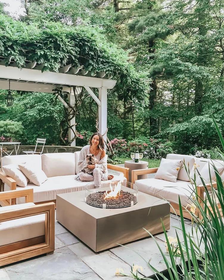 Lakeland Teak Patio Sofa With Cushions Outdoorfurniture In 2020 Patio Design Backyard Furniture Patio Decor