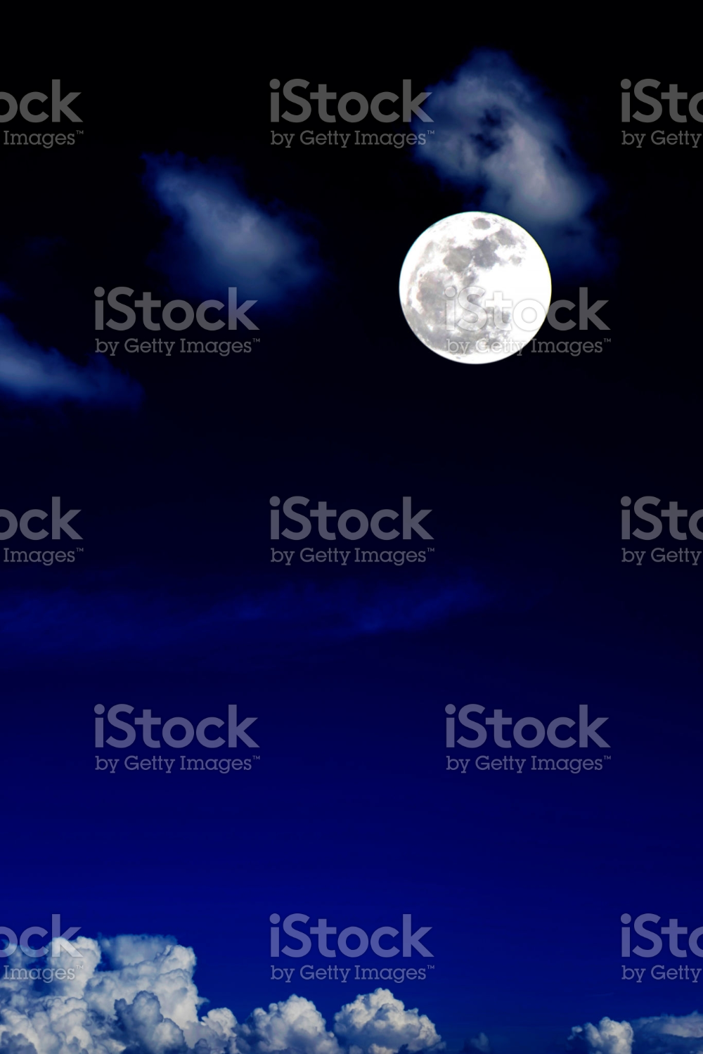 Blue Moon And Cloud In The Dark Sky At Night Color Effect Color Effect Blue Moon Dark Skies