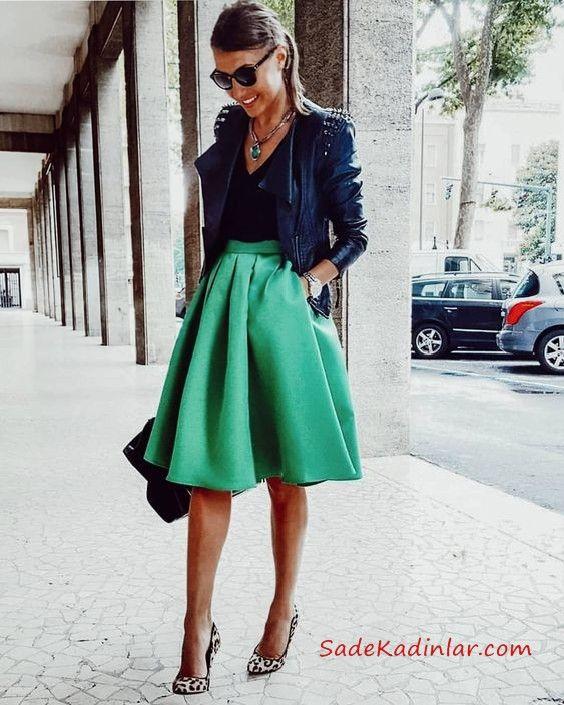 2019 Şık Kombinler Yeşil Dizboyu Klş Etek Sşyah Bluz Lacivert Deri Ceket Leopar Desenli Stiletto Ayakkabı