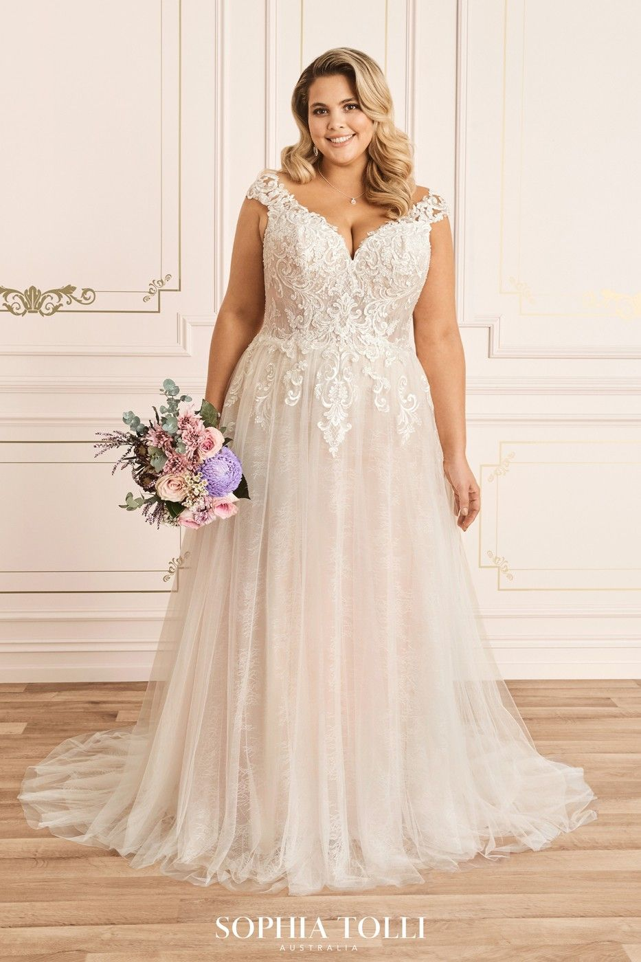 Sophia Tolli Y12023ls Kaydence Cap Sleeve Plus Size Wedding Gown Plus Size Wedding Gowns Plus Wedding Dresses Plus Size Bridal Dresses [ 1400 x 933 Pixel ]