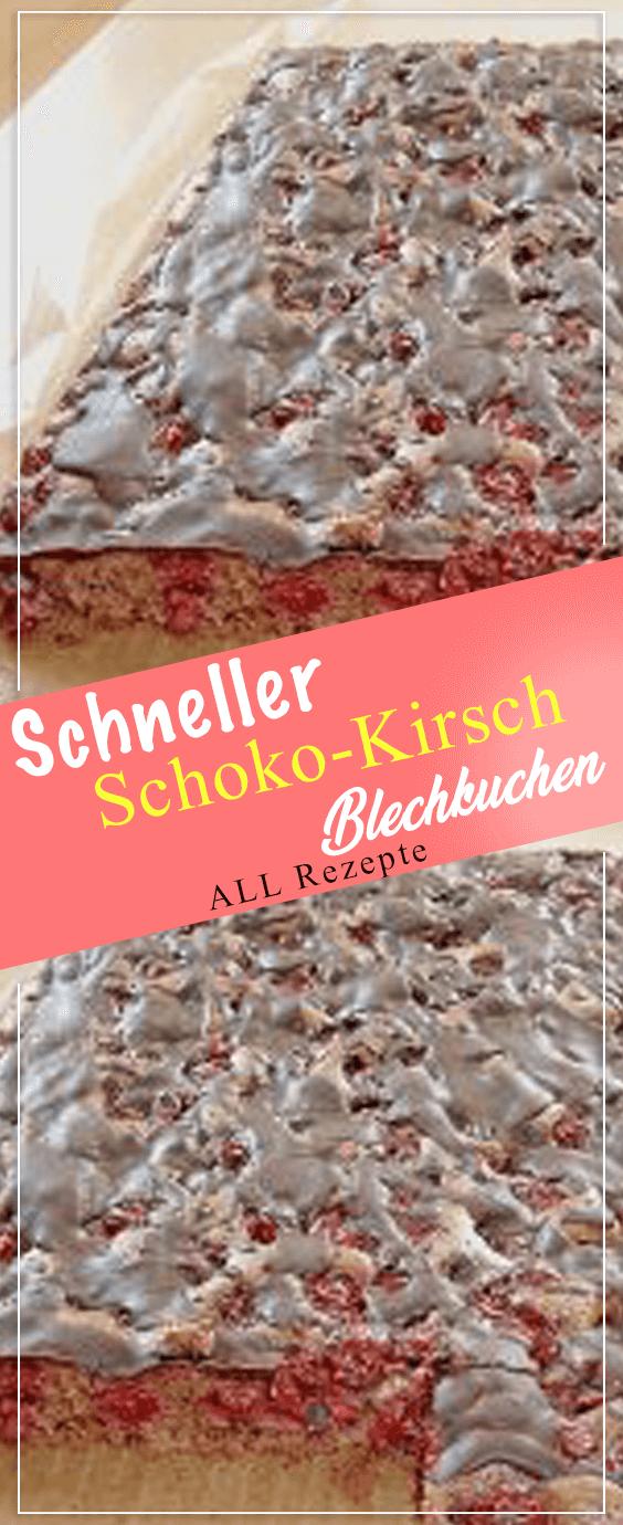 Schneller Schoko-Kirsch-Blechkuchen.#Kochen #Rezepte #einfach #köstlich