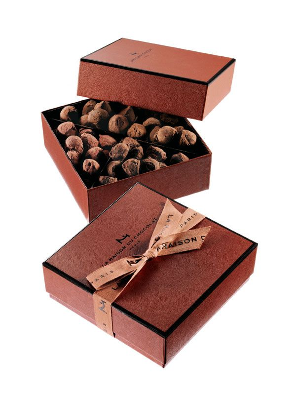 La Maison du Chocolat  Truffle collection box featuring four flavors: pure dark chocolate, caramel toffee, orange and raspberry. 0.82 lbs. $95. France.
