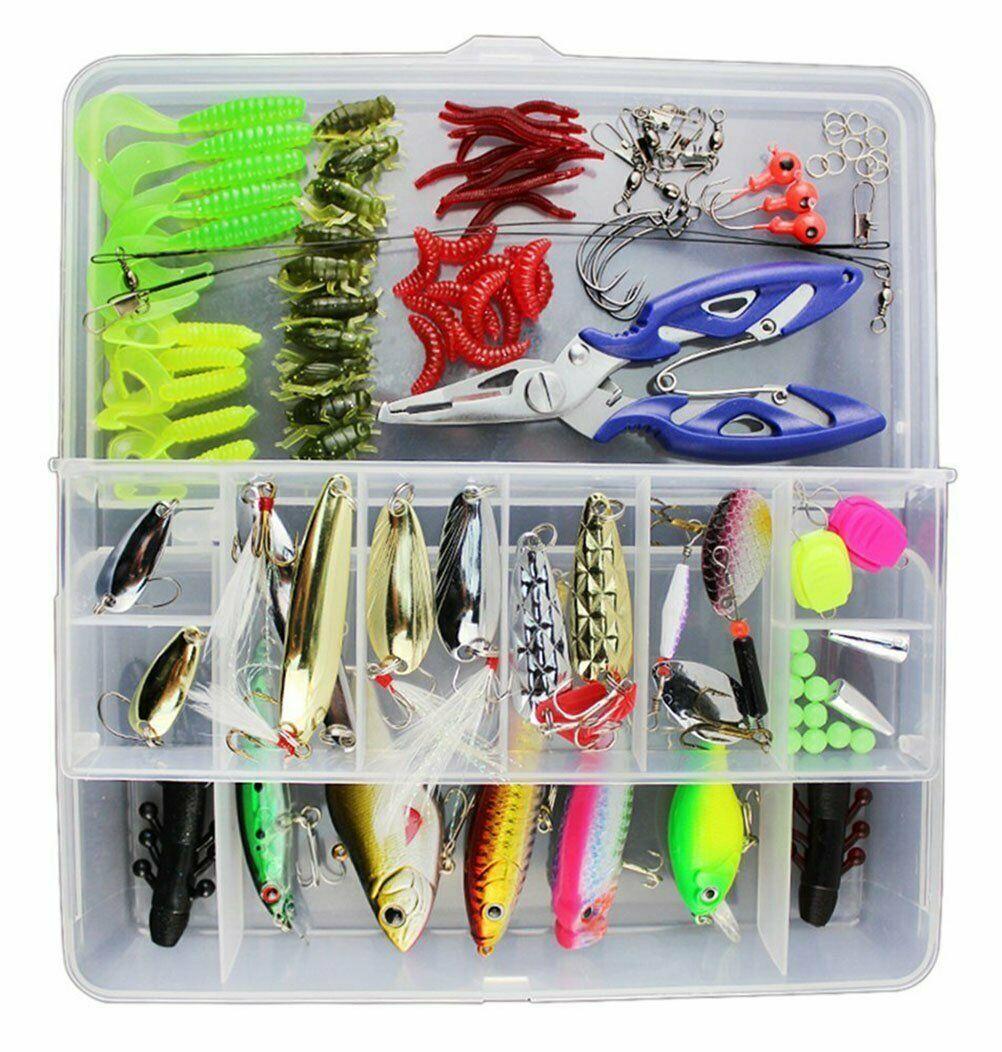 Kit d'appâts de Pêche Portable avec Boîte Leurres de Pêche