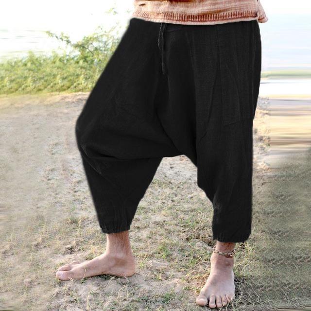 Domple Mens Fashion Hip Hop Loose Elastic Waist Baggy Wide Leg Capri Pants