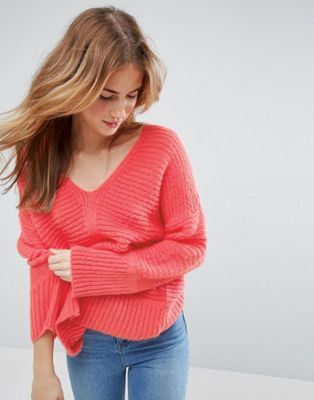 ASOS Chunky Jumper In Fluffy Yarn With V Neck