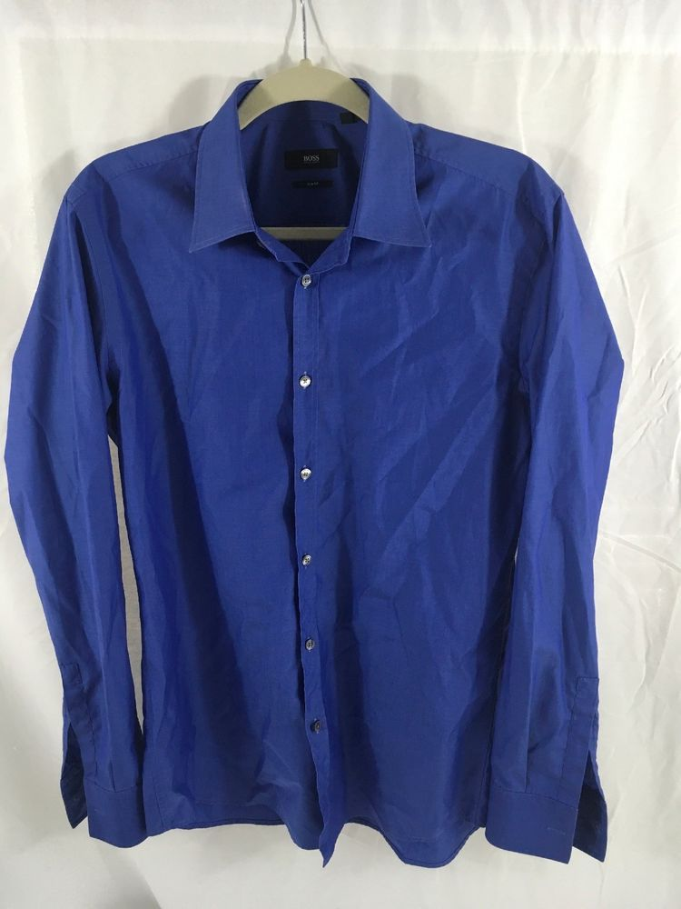 7810fd8591 BOSS Hugo Boss Mens Long Sleeve Slim Fit Shirt Blue 39 15 1 2