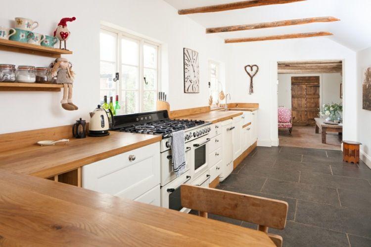 Küchen moderner landhausstil holz  Holz Arbeitsplatten für eine Küche im modernen Landhausstil ...