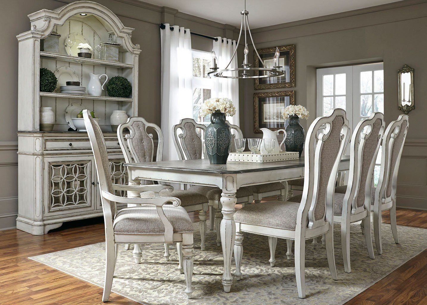 Magnolia Manor Dining Room Set W 108 Inch Table In 2020 White