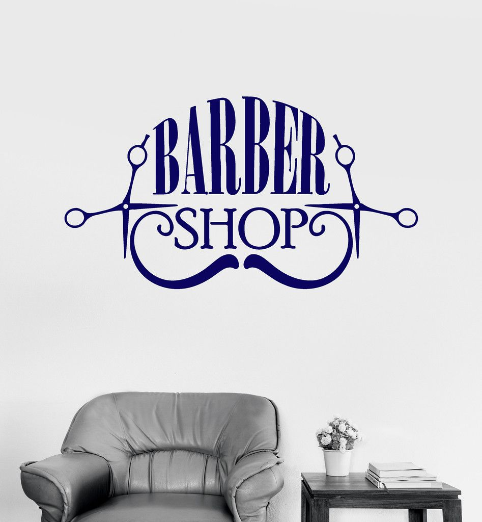 Wall Vinyl Decal Barbershop Hair Salon Beauty Hairdresser Stickers ...