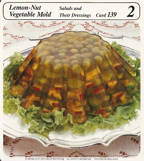 lemon nut vegetable mold in gelatin aspic vintage recipe