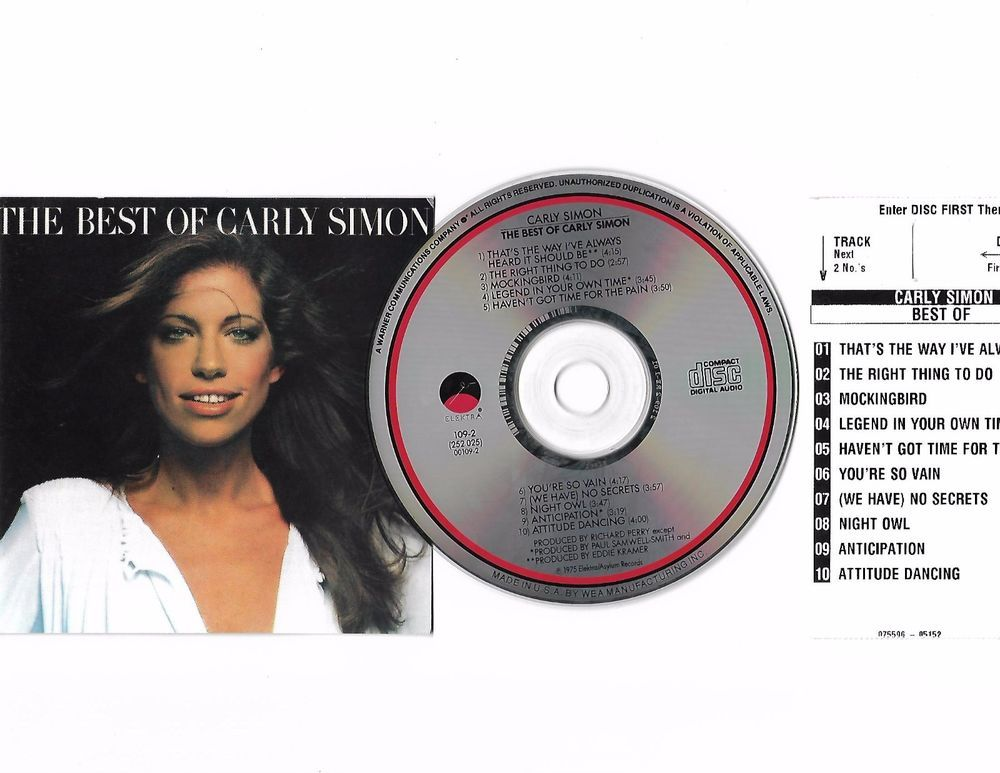 The Best of CARLY SIMON Cd Compact Disc W/ JukeBox Title Page Free S/H USA