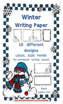 Lines Paper Cute Winter Lined Writing Paper  Legal Size Paper Parent Notes And .