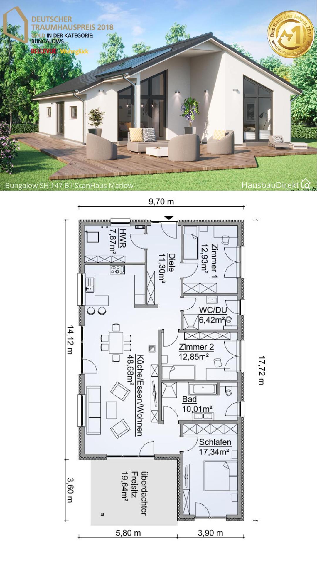 Moderner Fertighaus Bungalow mit Satteldach bauen, Haus Grundriss modern offen, 130 qm, 4 Zimmer