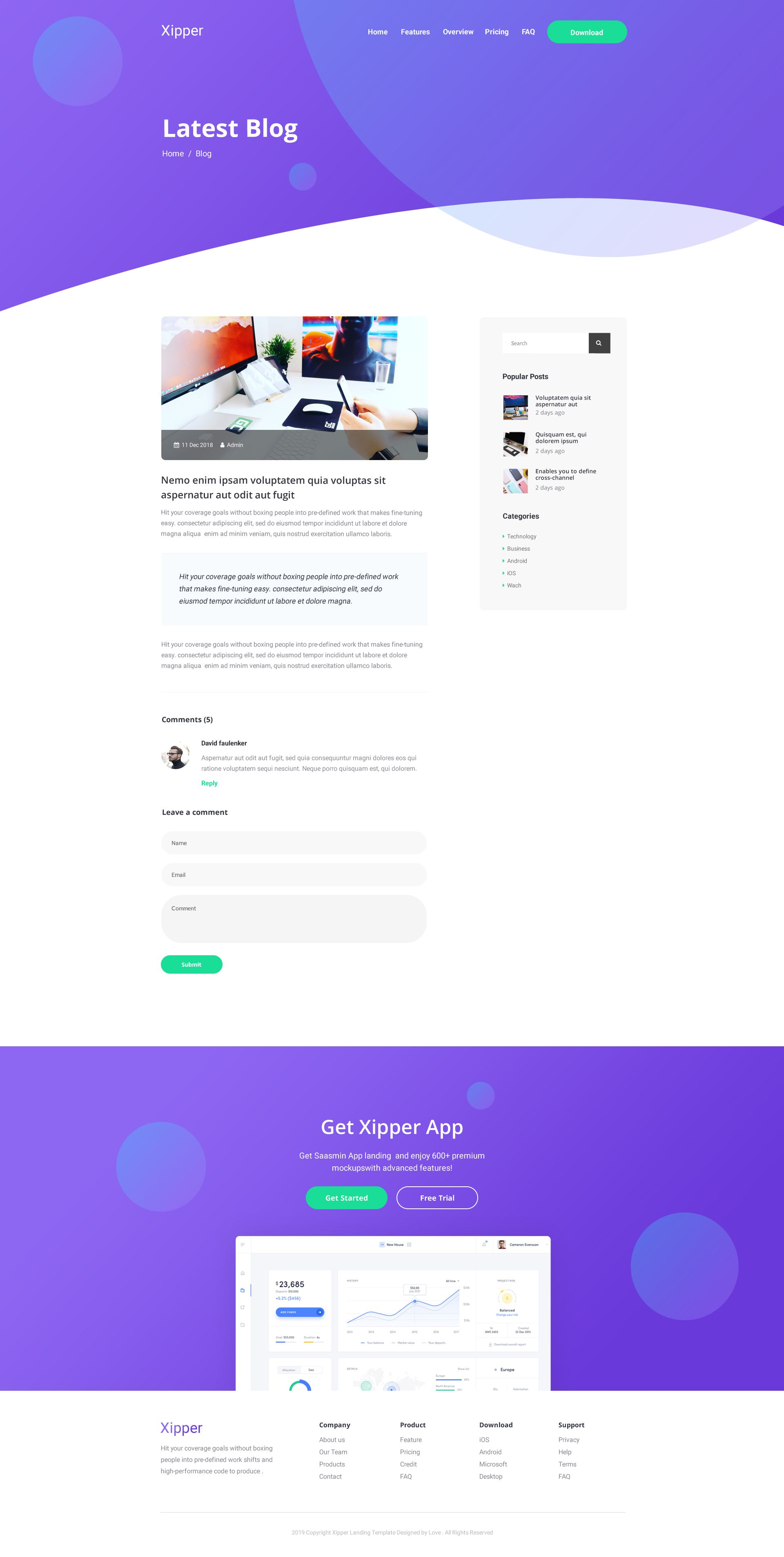 App landing page blogger template Most Popular
