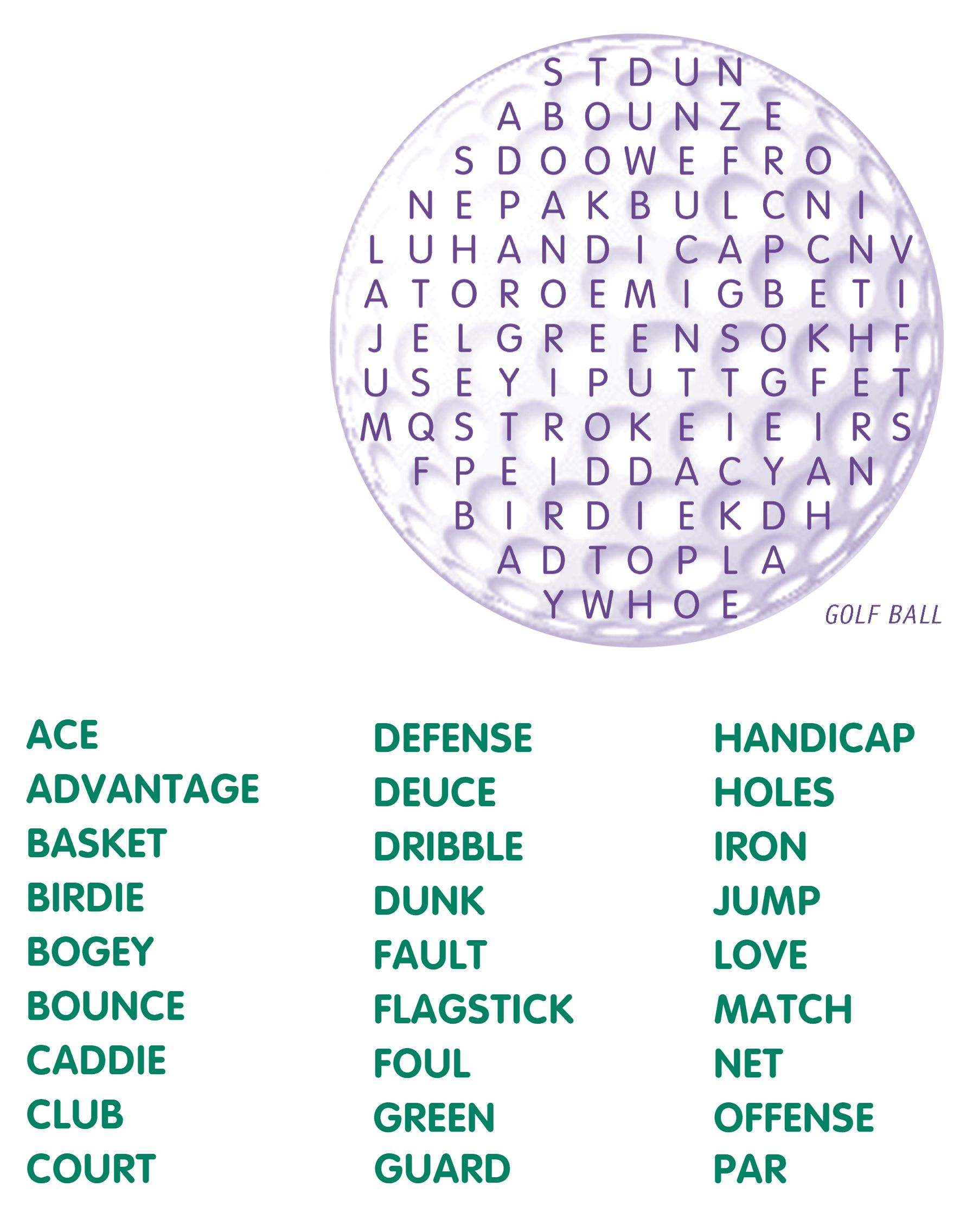 Golf Word Search Crossword Puzzles Kids Word Search Printable Crossword Puzzles [ 2271 x 1770 Pixel ]