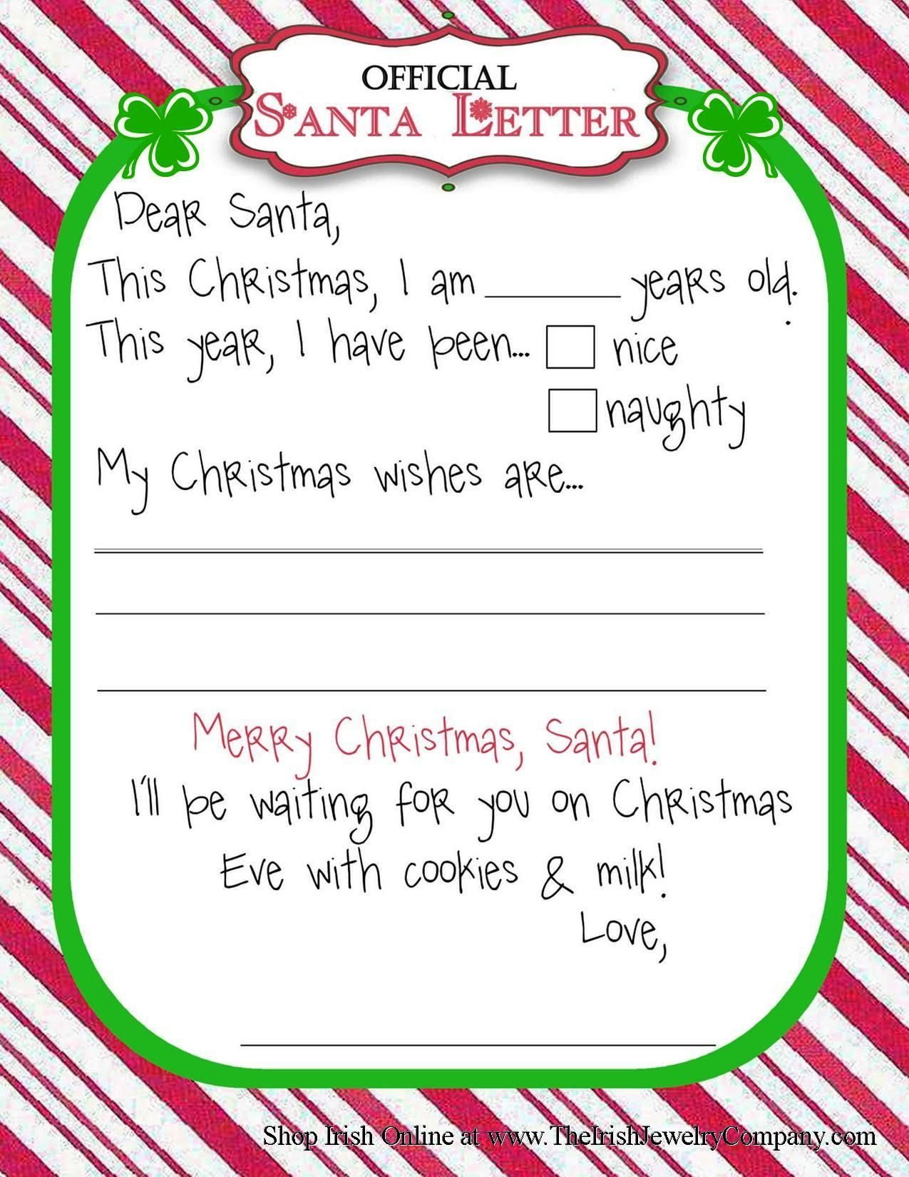 Letters To Santa Free Printable