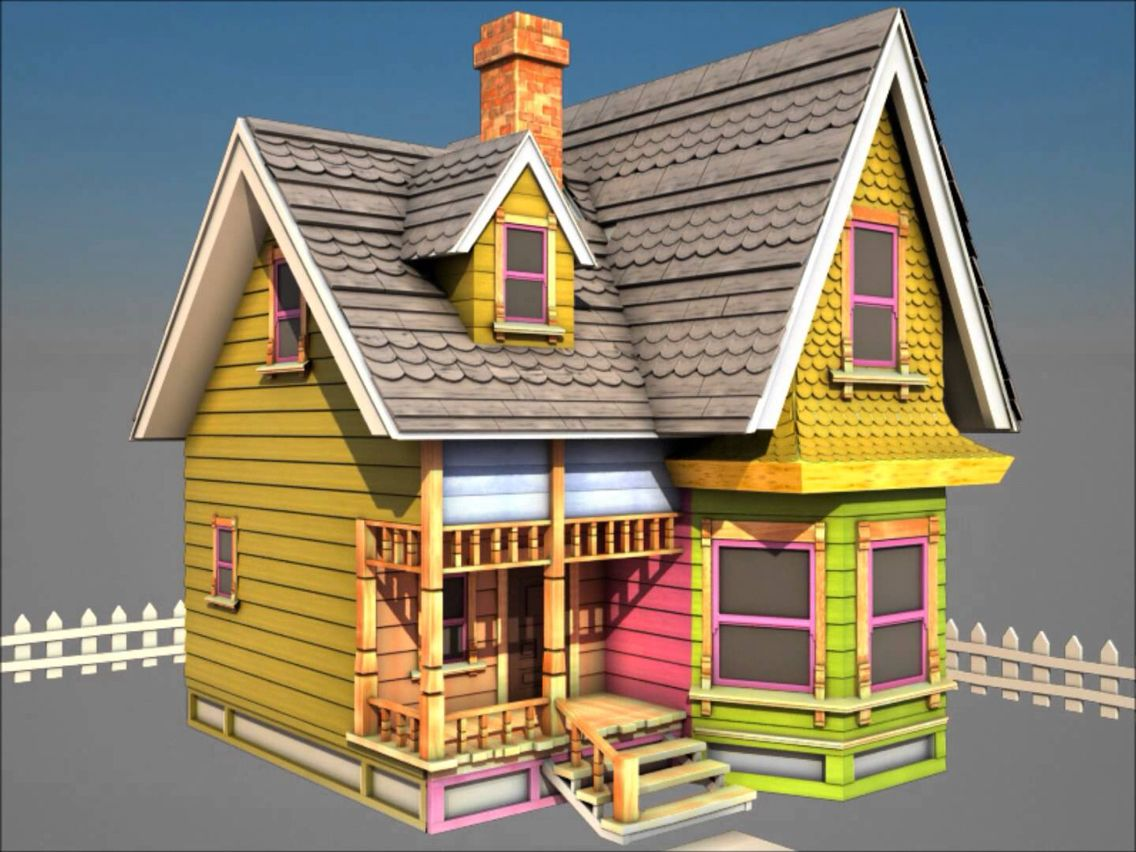 """Model of """"Up"""" house- angle view  House, Minecraft houses, House"""