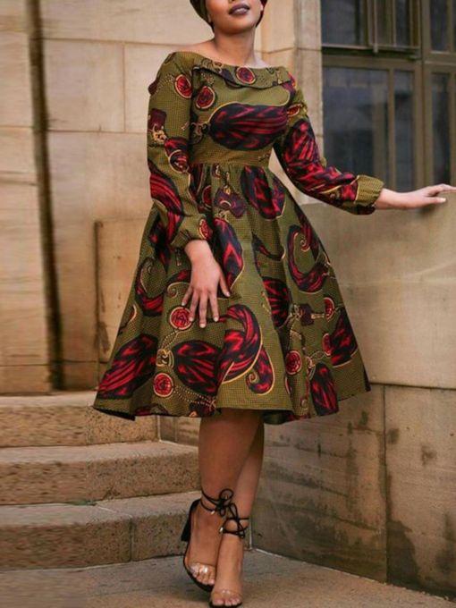 slash neck falbala druckt langärmliges kleid der frauen #africanfashion