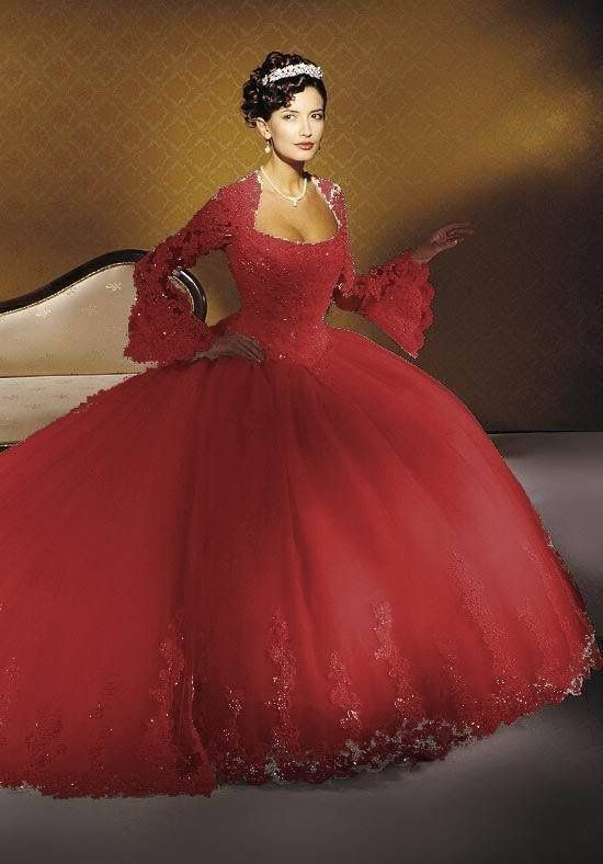 New Red White Long Sleeves Wedding Dresses Plus Size Bridal