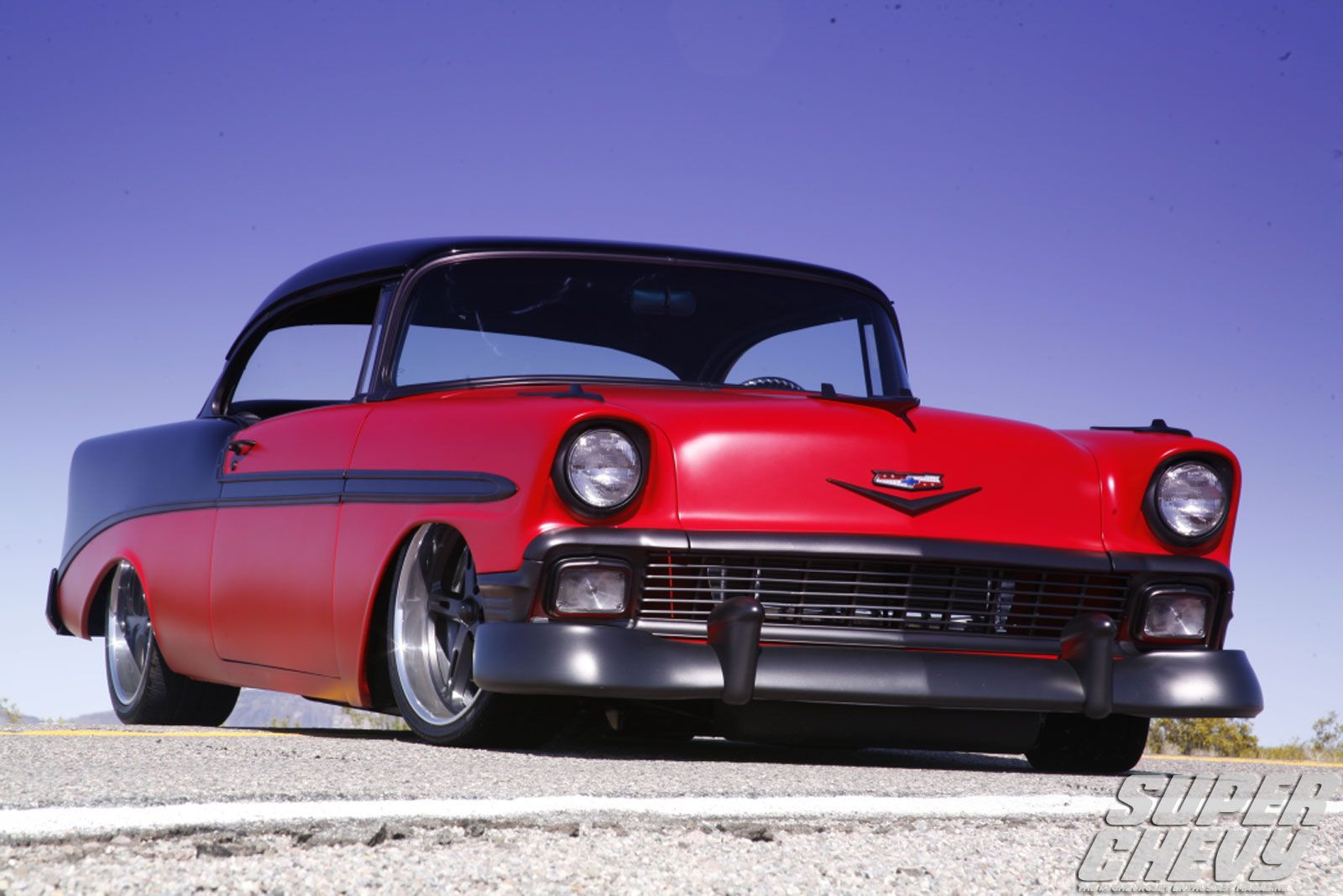 Red And Black 56 Chevy Bel Air Chevy Hot Rods Cars Muscle