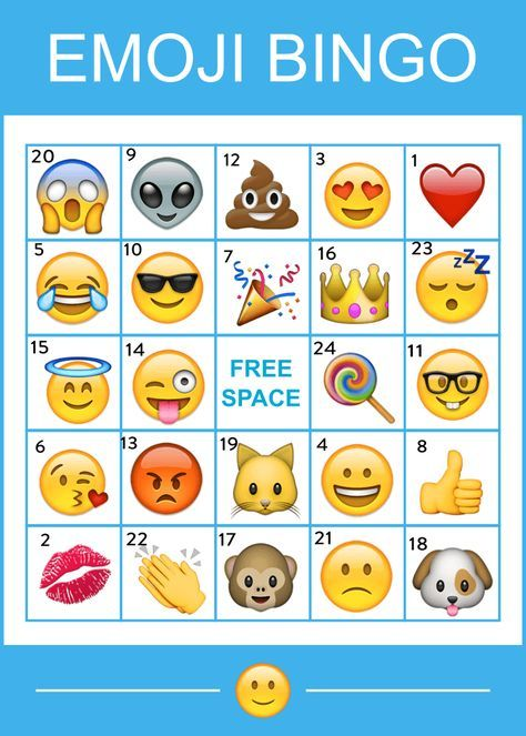 Free Printable Emoji Bingo Game | CatchMyParty com | Bucket