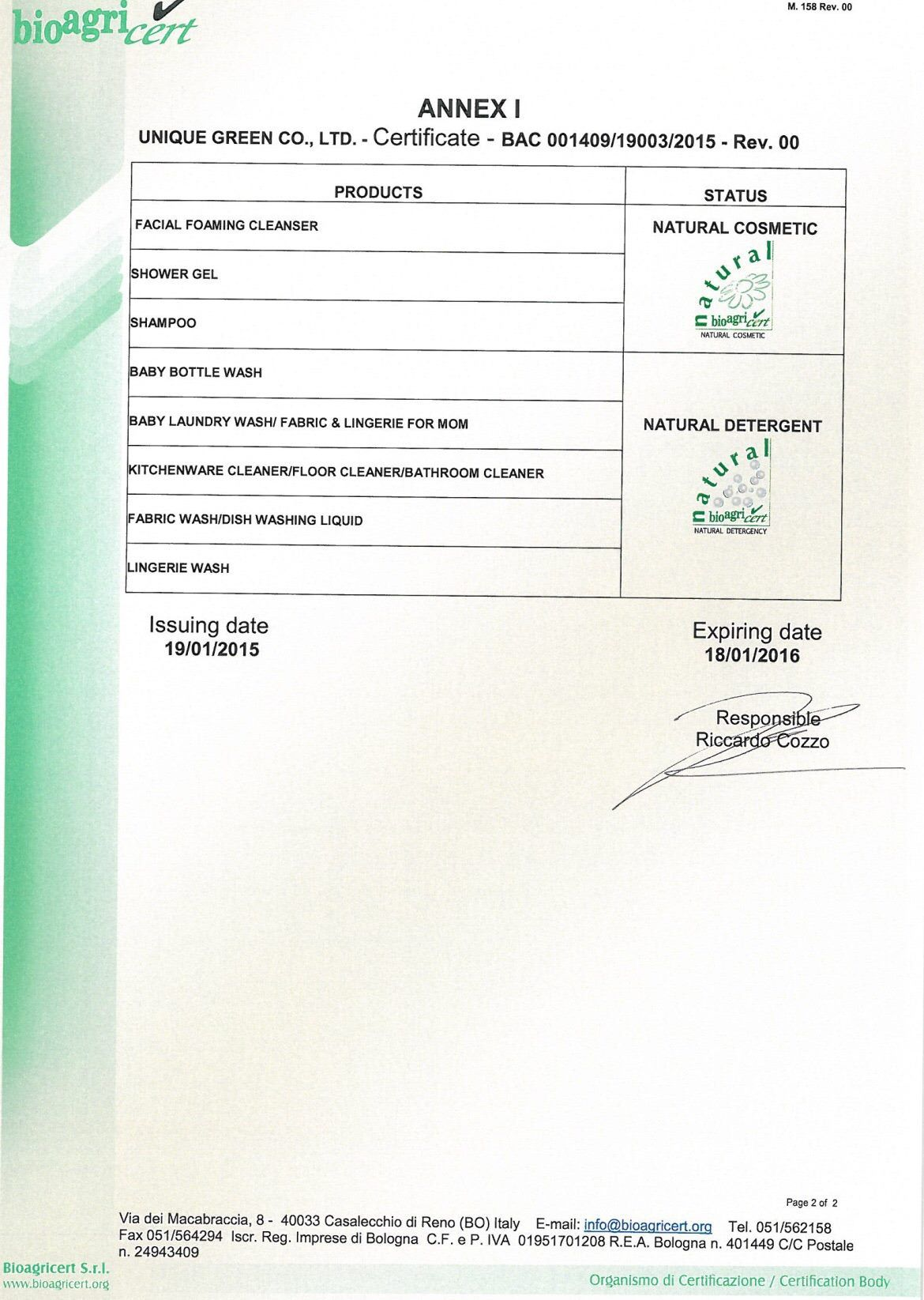 Natural Organic Certificate Of Conformity Cbn Bac