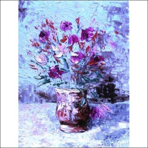Original painting quadro n. a. 1115 vasetto di fiori dipinto ad olio ...