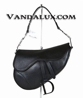 10285ff5034f Christian Dior Logo Grained Calf Leather Saddle Handbag Silver Black ...