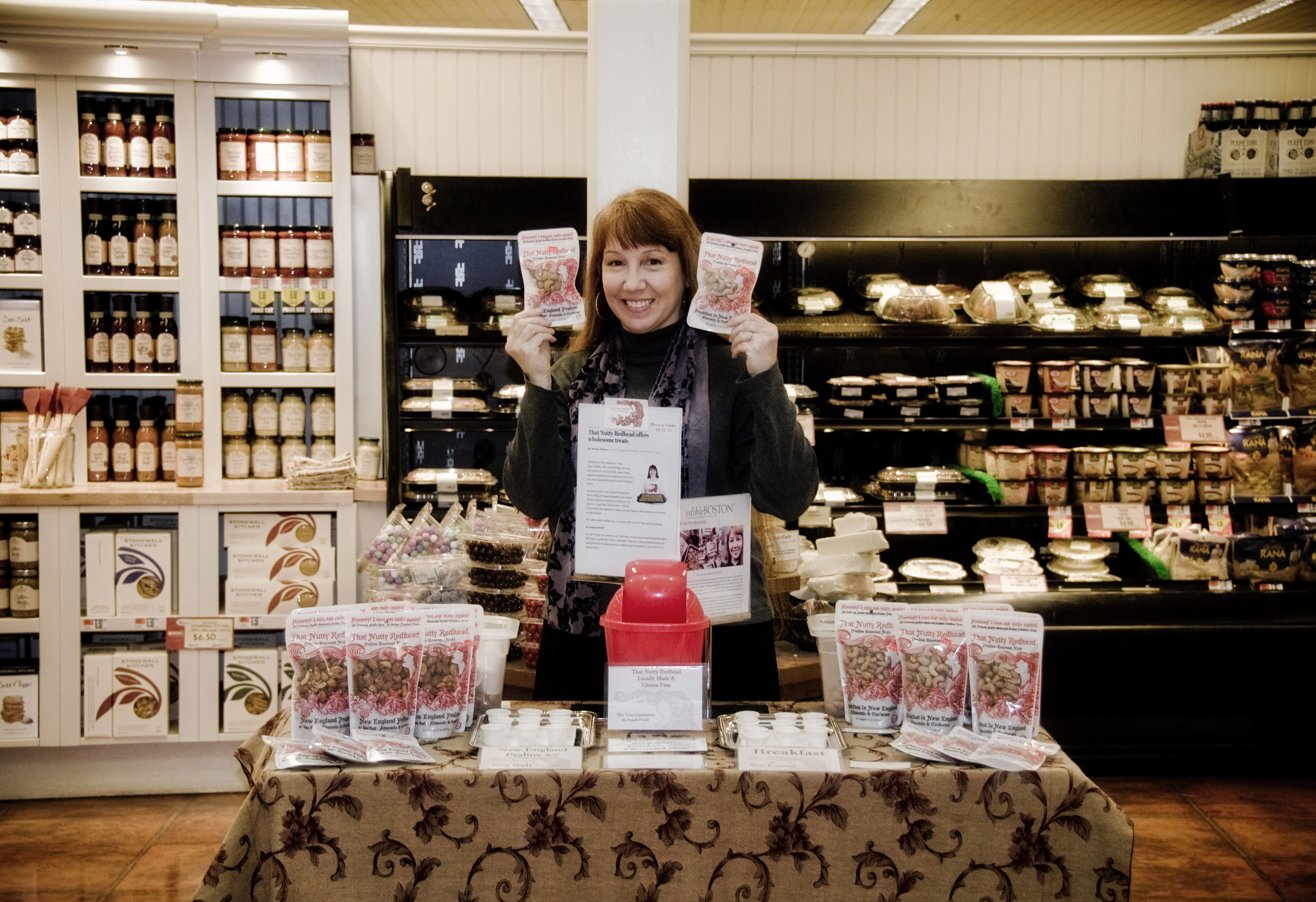 Lisa, aka That Nutty Redhead, spreading the Praline nut love at a store demo tasting in MA.