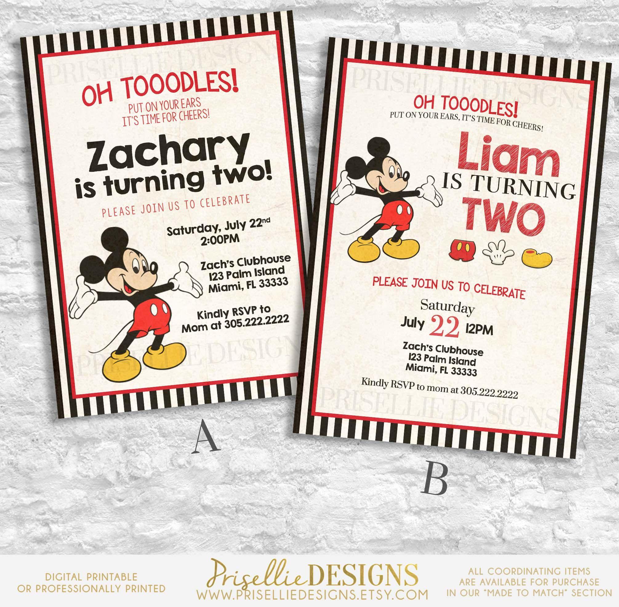 Mickey Mouse Birthday Invitation, Mickey Birthday Invitation ...
