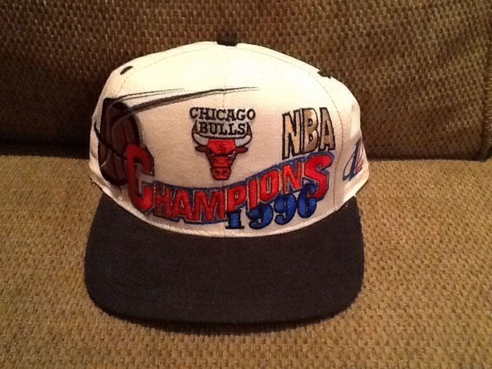 5328f9338179a4 1996 CHICAGO BULLS NBA CHAMPIONS VINTAGE SNAPBACK HAT MICHAEL JORDAN ...