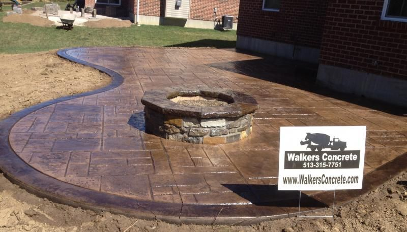 Stamped Concrete Patio With Fire Pit Designs See More Steel Pits Toward The Bottom